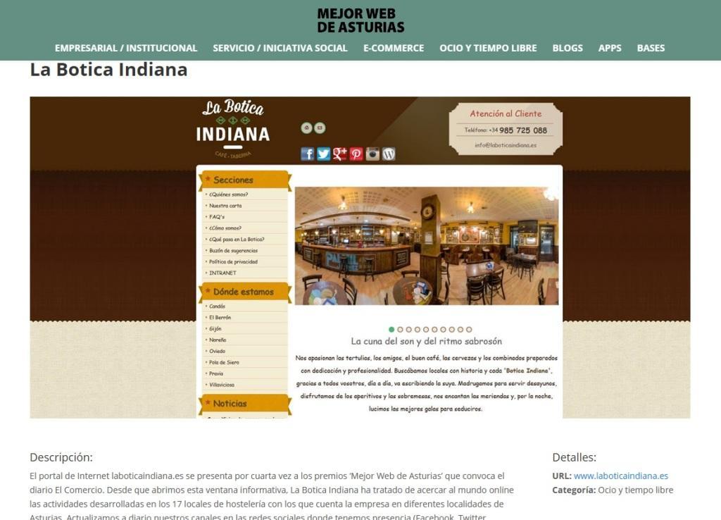 Nominación premio web La Botica Indiana