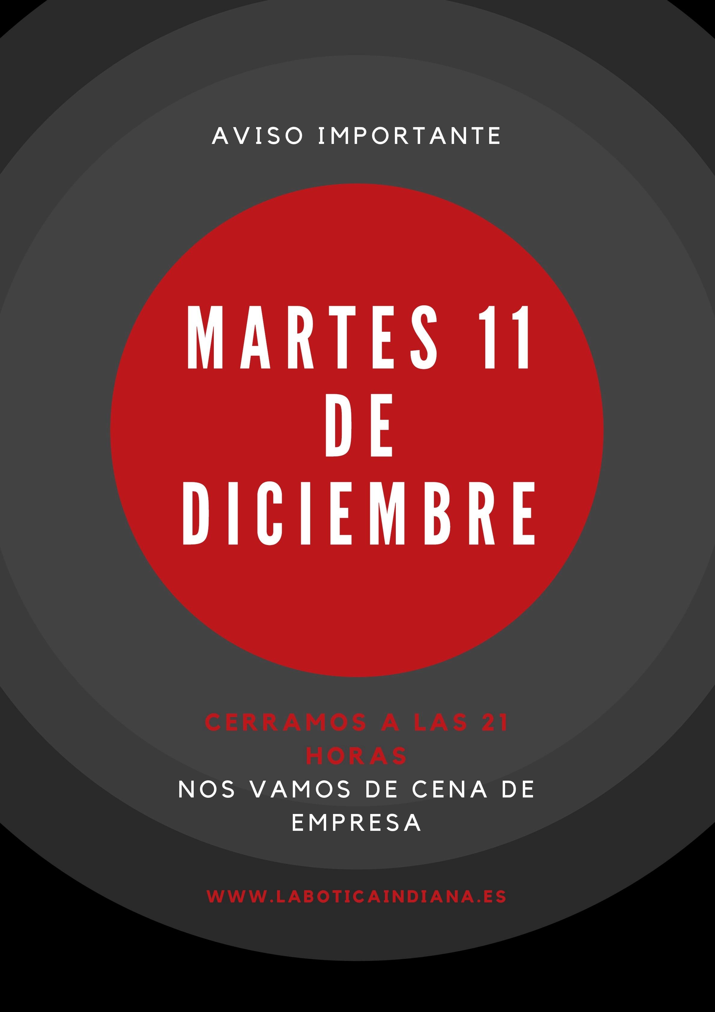 martes 11 de diciembre CERRADO
