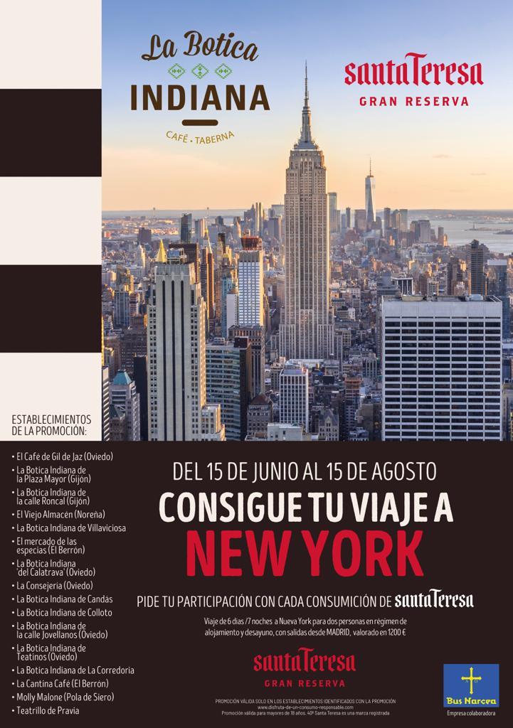 cartel sorteo viaje a Nueva York